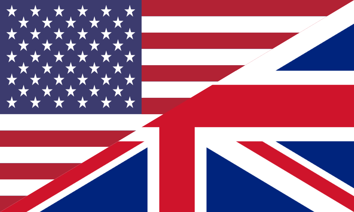 American/British flag - English language